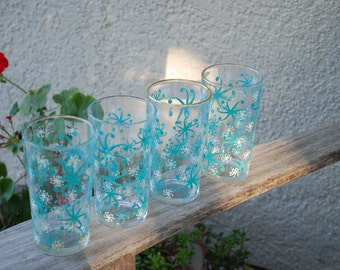 Vintage Atomic Holiday Set of 4 Drinking Glasses