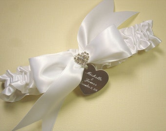 Personalized White Wedding Garter, Satin Bridal Garter with Engraving and Brilliant Rhinestone Heart
