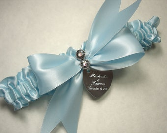 Personalized Something Blue Wedding Garter with Swarovski Crystals and Engraving of Names and Wedding Date