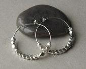 Silver Hoop Earrings, Silver Nugget Earrings, Small Sterling Silver Hoops, Everyday Hoops, Round Silver Earrings, Gift for Her