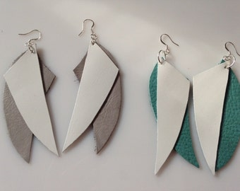 Leather White or Turquoise and Gray Earrings Your choice