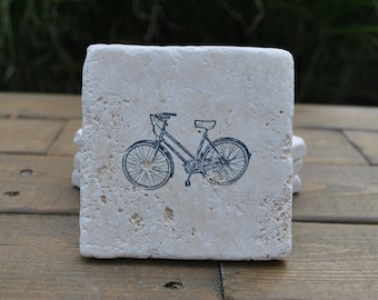 Lets Ride Natural Stone Coasters. Set of 4. Bike, Gift for Him, Host, Home Decor