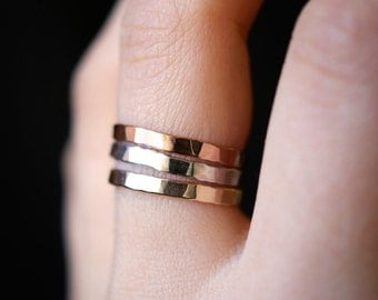 Extra Thick Mixed Metal Stack ring set of 3, Rose Gold, Yellow Gold and Sterling Silver stack rings, stackable rings, mixed metal stack
