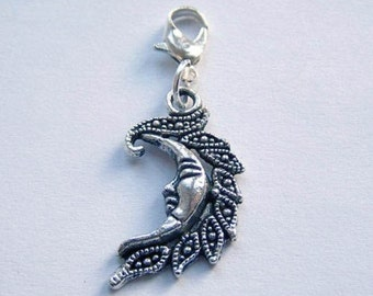 Build Your Bracelet - Silver Man in the Moon Charm Clip on Add a Charm Jewelry OR for a Pet Collar Sb-Cele004