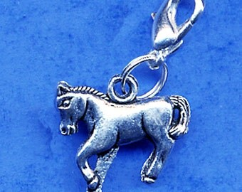 Build Your Bracelet - Silver HORSE Charm Clip on Add a Charm Jewelry OR for a Pet Collar Sb-Eq016