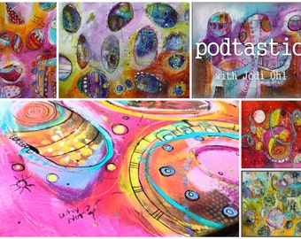 Save 20%!  Pod-Tastic an Open Ended Online Workshop Abstract Painting Course using Acrylic Paint by Jod Ohl