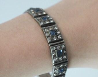 Beautiful blue DECO bracelet - Vintage crystal & stone