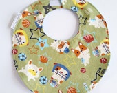Baby Boy Bib Toddler Bib - All Star Pups - Puppy Dogs Sports - Olive Green Navy Blue Orange Yellow - Cotton Bib with terry backing