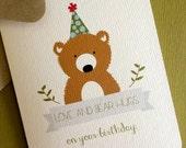 Love and Bear Hugs, Bear birthday greeting card