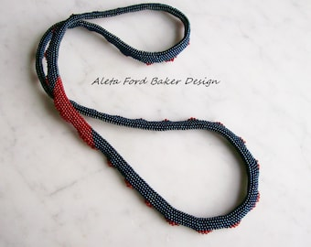 Long Beaded Necklace Beadwork Beadwoven Art To Wear   31 Inches