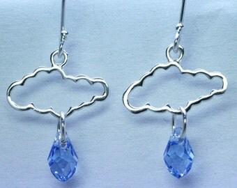 Cloud & Swarovski Crystal Earrings Sterling Silver 925