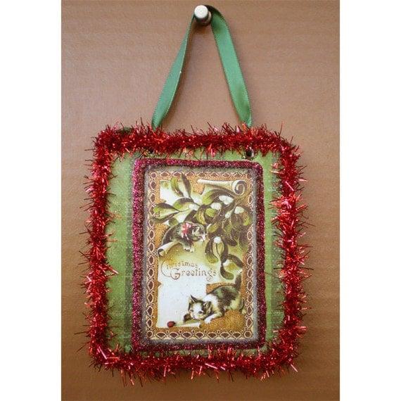 Mistletoe kitty cat vintage Victorian style Christmas Yule Winter tree ornament decoration