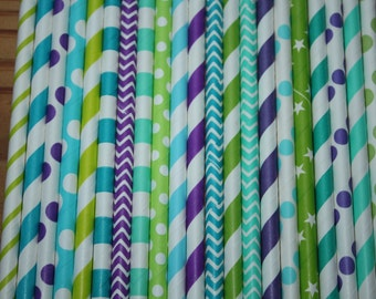 30 Peacock Party Straws, Assorted Patterns
