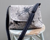 Grey Messenger Bag - Dragonflies - Adjustable Strap - Hand Printed