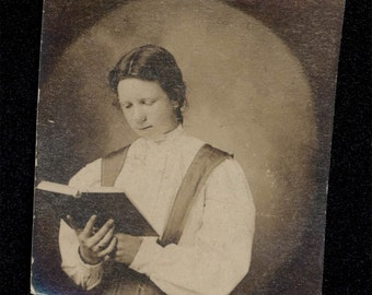 vintage photo Gem Miniature Young Lady REading a book