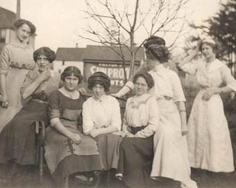 vintage photo 1913 Group of Women Sit Bench Spring Gathering Yard