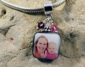 NEW - Double-Sided Square Mother of Pearl Custom Photo Charm with Two Bead Accent Dangles for European Style Charm Bracelet