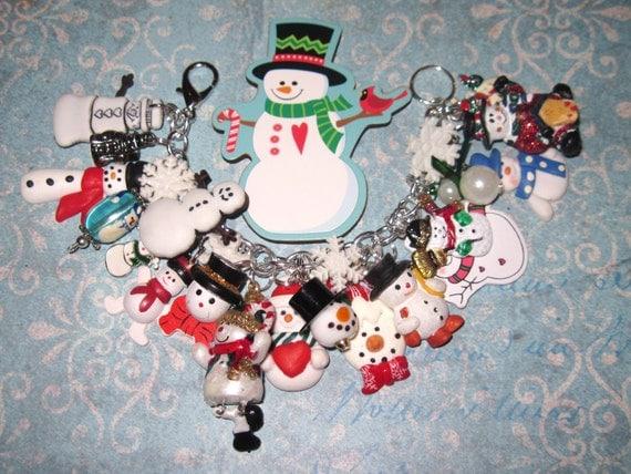 Snowman Charm Bracelet Loaded w/Eclectic Snowman Charms Beads Trinkets Chunky Snowman Bracelet Christmas Bracelet Winter Snow Jewelry OOAK
