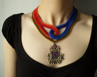 beaded statement necklace - with orange, red, cardinal red, green, cornflower and cobalt blue beads and kuchi pendant