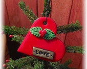 Heart with Holly and Berries Keepsake Christmas is Love Tree Ornament OFG Team