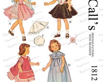 1950's Vintage 14 inch betsy mccall doll sewing pattern , mccalls 1812 - PDF