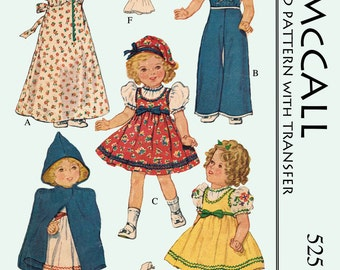 Vintage 1930's 16 inch Shirley temple and other movie dolls , clothes sewing pattern - PDF pattern