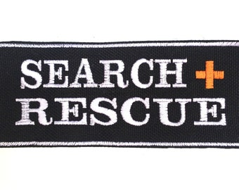 """Large 2"""" x 5"""" embroidered SEARCH + RESCUE patch - Service Dog Patch - S&R"""