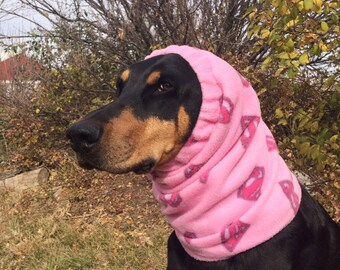 Snood for Doberman - PINK polar fleece Snood with Supergirl logos - Pink Dobersnood - Super Dog - Dog Snood - Snood