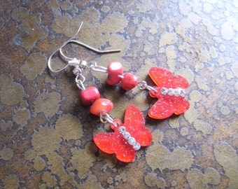 Rouge Butterfly Howlite Beaded Dangle earrings