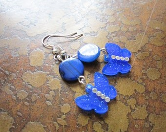 Cobalt Butterfly Mother of Pearl and Acrylic Beaded Dangle earrings