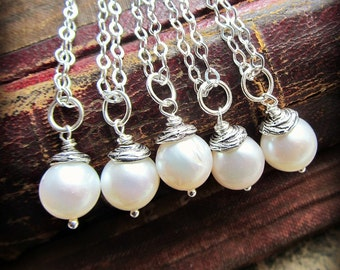 Pearl Drop Necklace - Pearl Pendant - Single Pearl Necklace - Vintage Reclaimed Pearls
