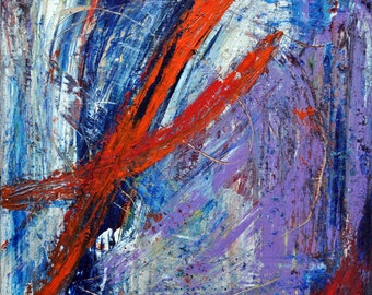 Modern Rustic art, Abstract art print, wall art prints, modern art print, modern home decor, contemporary artwork, blue purple red art