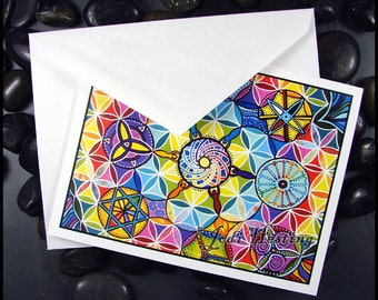 Beadworx - Blank - Single - Note Card with envelope- Fine Art Print -  We Are All Connected