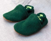 Green Knit Wool Kids Slippers Leather Bottom fits 2-3 years old made from recycled materials