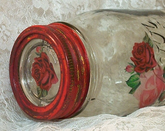 vintage mason fruit jar kerr canning quart shabby chic red roses upcycled recycled repurposed glass insert lid salvaged CIJ christmasinjuly