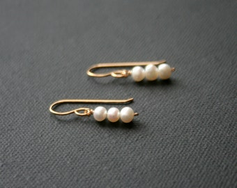 Gold filled earrings - three small pearls - lightweight earrings - leverback or french wire