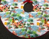 Beach Christmas Tree Skirt, Tropical Tree Skirt Hibiscus, Hawaiian Tree Skirt, Mele Kalikimaka Tree Skirt, Handmade by AnnieKDesigns