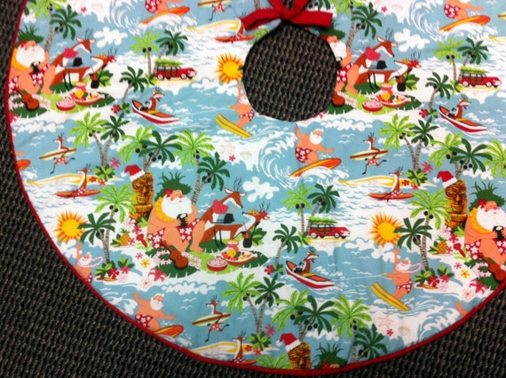 Beach Christmas Tree Skirt, Tropical Tree Skirt Hibiscus, Hawaiian Tree Skirt, Mele Kalikimaka Tree Skirt, Handmade by AnnieKDesigns