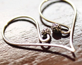 Bali Sterling Silver Berry 25x11.5mm Earwire : 2 pc Silver Ear Wire