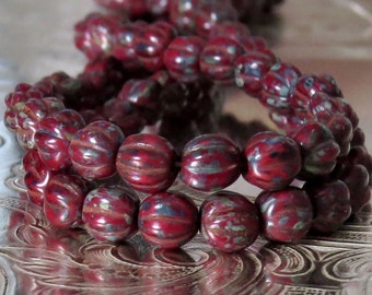 Red Picasso 5mm Czech Glass Bead Melon : 50 pc 5mm Red Bead