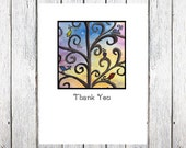 Swirlie Bird Thank You note cards