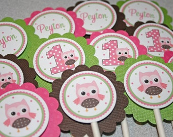 SWEET OWL Cupcake Toppers / Owl Toppers / Owl Cupcake Toppers / Owl Birthday Party / Owl Baby Shower / Owl Cupcake Picks