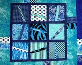 Blues, Aqua, Art Quilt Wall Hanging, Table Topper, Lovely Addition to Room