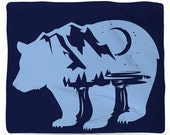 Bearscape, Fleece Blanket, Printed in USA