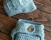 Little Boy Blue Hat and Diaper Cover for Premie Newborn Crocheted photo prop