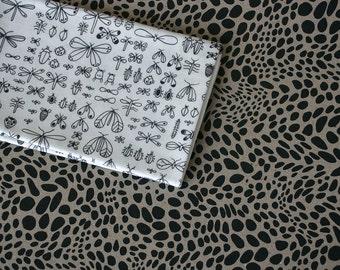 Bugs Fabric - Black and White - Half Yard