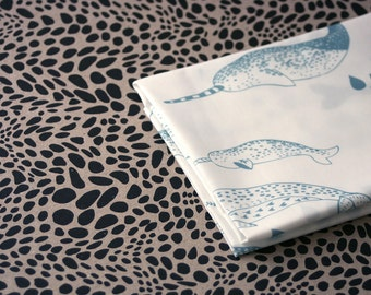 Pod - Narwhal Fabric -  Lichen Blue on White - Small Piece