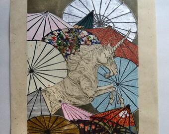 Unicorn Amongst Umbrellas XXIX- Multimedia - Lino Block Print Unicorn with Collaged Japanese Papers & Ephemera Parasols