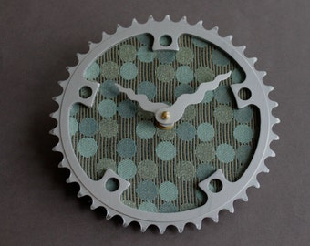 Bicycle Gear Clock - Blue Circles  |  Bike Clock  | Wall Clock | Recycled Bike Parts Clock