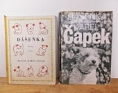 Dashenka by Karel Capek, 1960s Vintage Hardcover Books, Black and White Photographs of Puppy Dog, Vintage Czech Books.